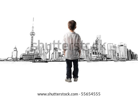 child standing in front of a cityscape