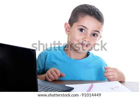 child studying with computer on white background