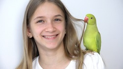 Child Talk Parrot, Happy Kid Playing her Pet, Girl Plays Bird at Home, Funny Indian Ring-Necked Parakeet Birds Cage Family