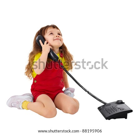 Child talking on the phone isolated on white background