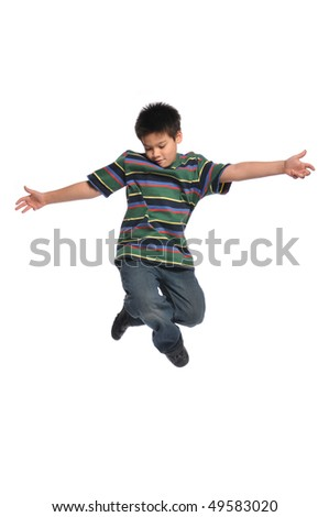 Child tap dancer jumping isolated on white background