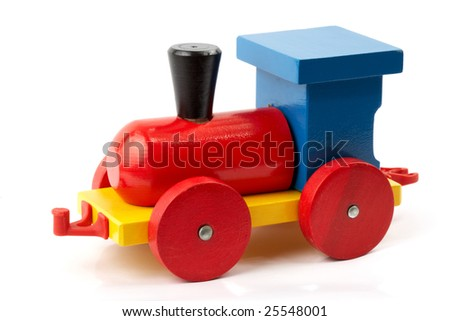 Child toy - wooden locomotive, isolated on white