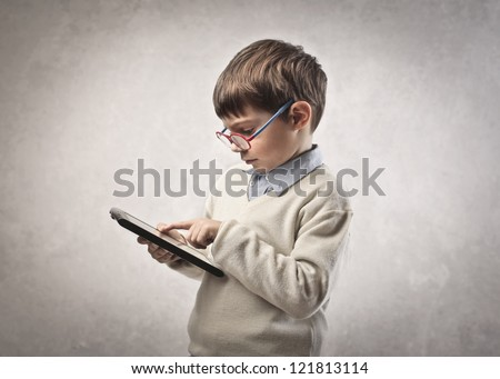 Child using a tablet PC