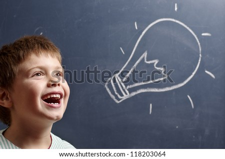 child who comes up with a wonderful idea - stock photo