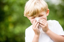 Child with a cold sneezing and holding tissue on his nose