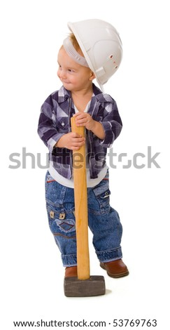 child with a hammer on a white background