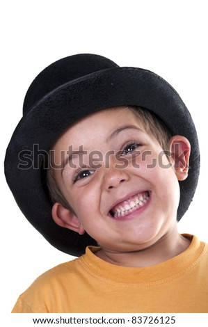 child with a top hat on a white background