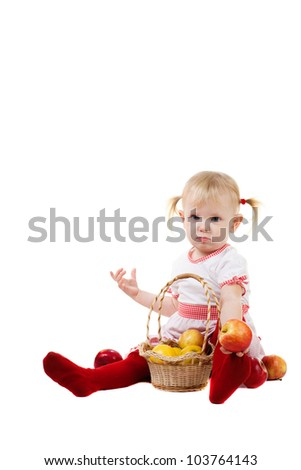 child with apples