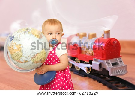 child with baby dummy and globe wants trip on Red toy train collage