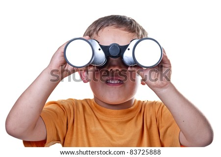 child with binoculars on a white background