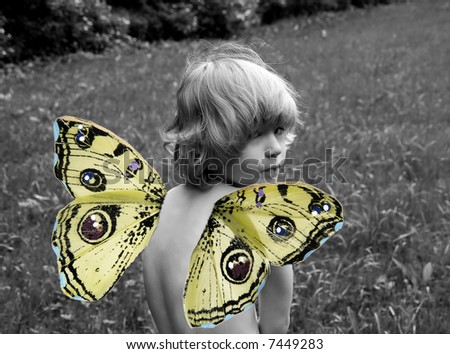 Child with butterfly wings