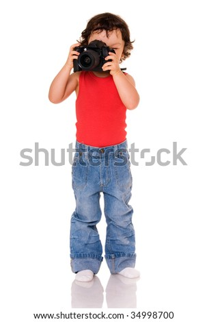 Child with camera, isolated on a white background.