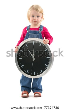 Child with clock indicant at the eleventh hour, on white background.