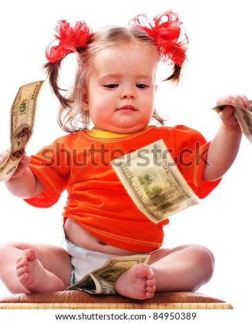 Child with dollar money. Business concept.