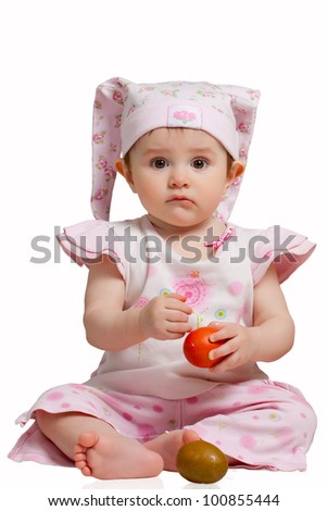 Child with Easter eggs