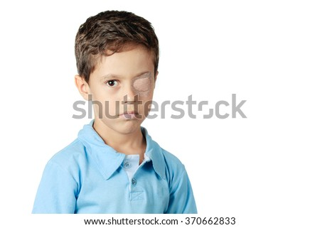 child with eye patch isolated...