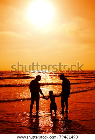 stock photo : child with father and grandfather