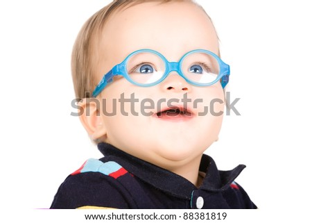 Child with glasses, close-up. Isolated on white.