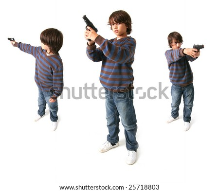 child with gun isolated on white. kid playing gangster or criminal