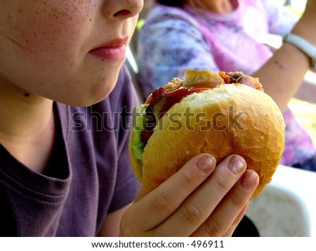 Child with hamburger