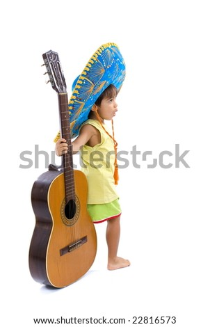 Child with Mexican hat holding a guitar