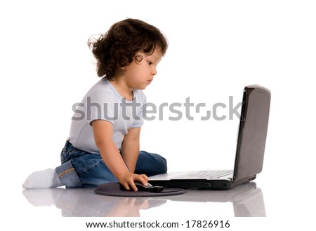 child with notebook,isolated on a white