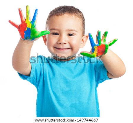 Child with painted hands on a white background