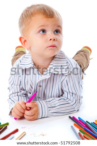 Child with pencils. Isolated on the white background - stock photo