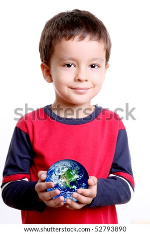 Child with planet in his hands, over white background - stock photo