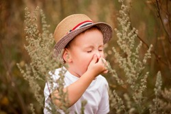 Child with pollen allergy. Boy sneezing  because of seasonal allergy while sitting in a grass. Spring allergy concept. Wormwood pollen allergy.