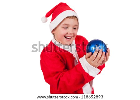 Child with Santa Hat isolated on white background