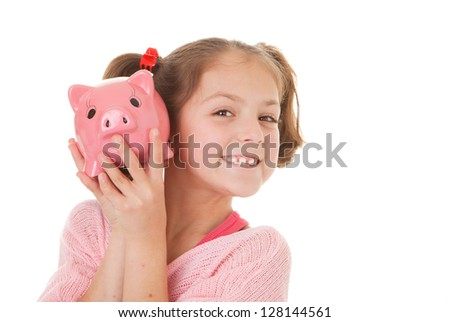 child with savings in piggy bank, banking concept