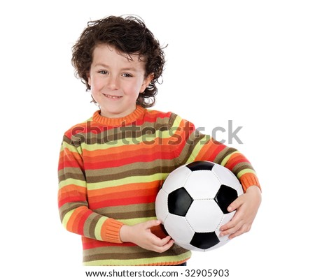 Child with soccer ball a over white background