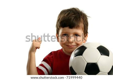 Child with soccer ball shows OK, isolated on white