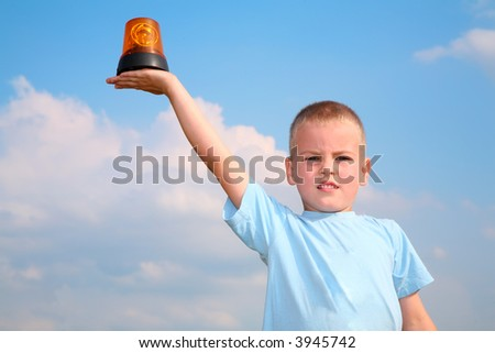 child with the automobile blinker - stock photo