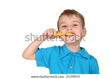 child with tooth brush