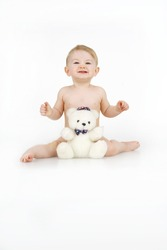 Child with toy,on white backgroun.