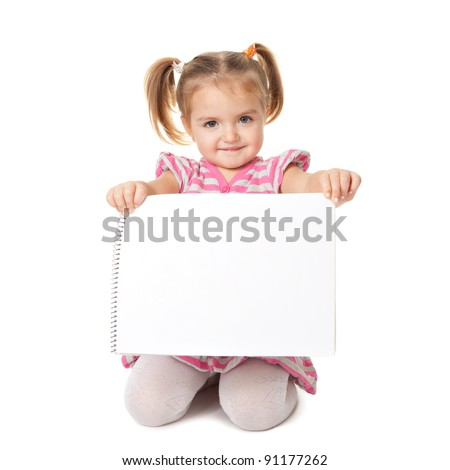 child with white sheet on a white background