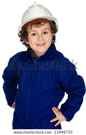 Child  with work clothes and white  helmet a over white background