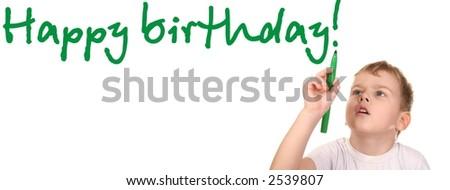child write happy birthday