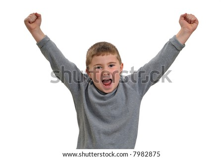 Child yelling with arms in the air