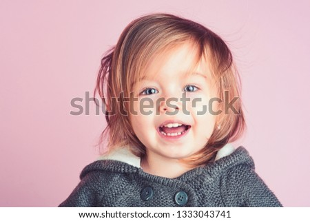 childhood and happiness. Happy little girl. little girl child smiling. autumn and spring kid fashion.