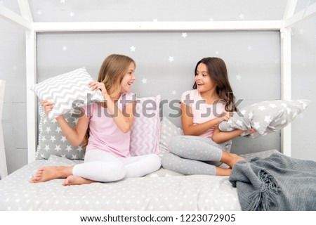 d324308f62 Childhood friendship concept. Girls happy best friends sleepover domestic  party. Sleepover time for fun