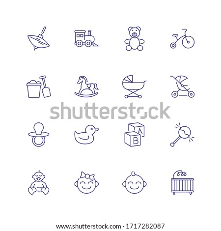 Childhood icons. Set of line icons on white background. Toys, baby, daycare. Nursery concept. can be used for topics like children, childcare, kindergarten