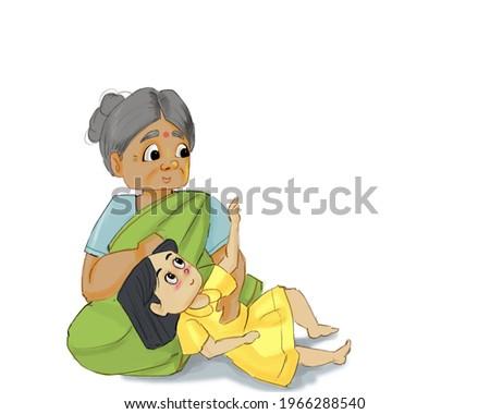 childhood memory  'grandma telling story ' Foto stock ©
