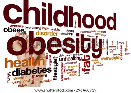 Childhood obesity word cloud concept