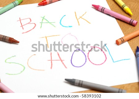 Childish Back to School Sign - stock photo
