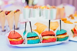 childlike color  tasty hamburger fast food