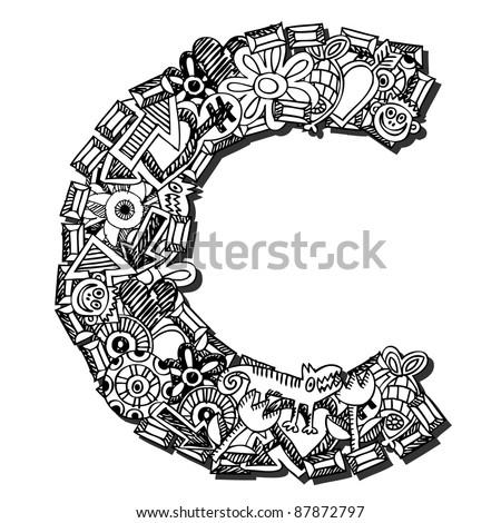 childlike doodle ABC, crazy letter C isolated on white background - stock photo