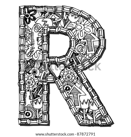childlike doodle ABC, crazy letter R isolated on white background